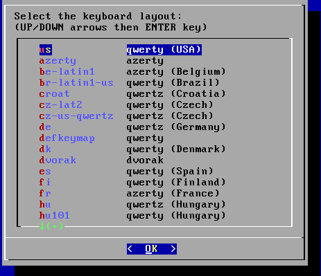 Select the keyboard layout